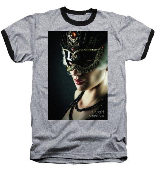 Baseball T-Shirt featuring the photograph Carnival Mask Closeup Girl Portrait by Dimitar Hristov