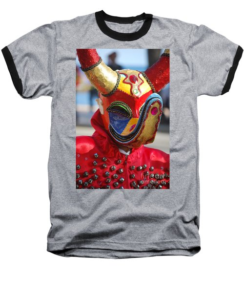 Carnival Red Duck Portrait Baseball T-Shirt