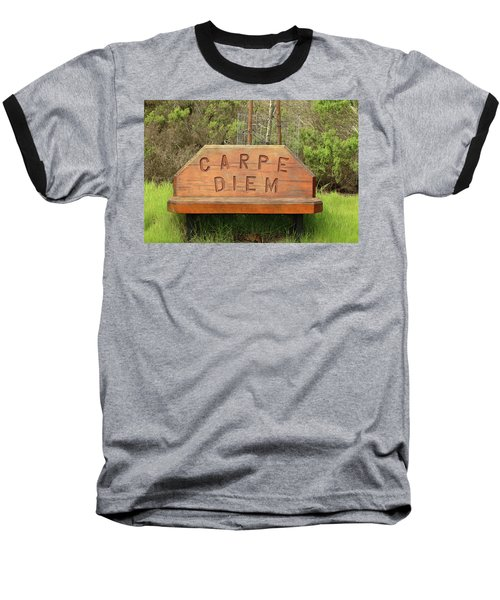 Baseball T-Shirt featuring the photograph Carpe Diem Bench by Art Block Collections