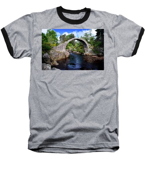 Carr Bridge Scotland Baseball T-Shirt by Don and Bonnie Fink