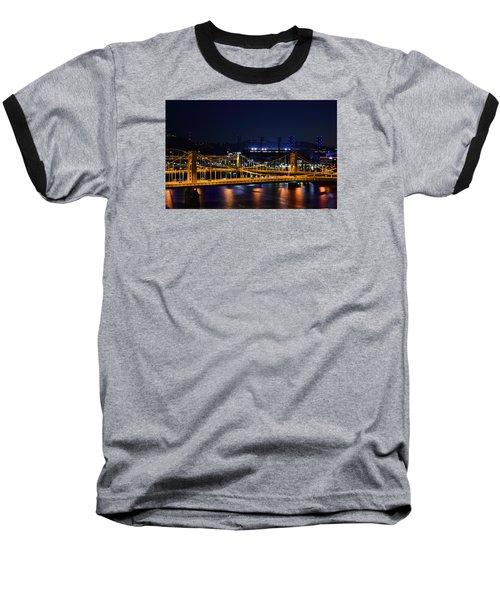 Carson Bridge At Night Baseball T-Shirt by William Bartholomew