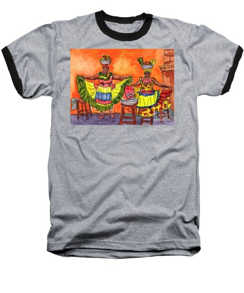 Cartagena Fruit Venders Baseball T-Shirt by Randy Sprout