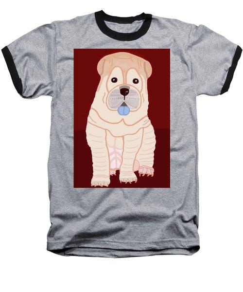 Cartoon Shar Pei Baseball T-Shirt