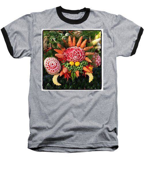 Baseball T-Shirt featuring the photograph Carved Watermelon, And I Think Those by Mr Photojimsf