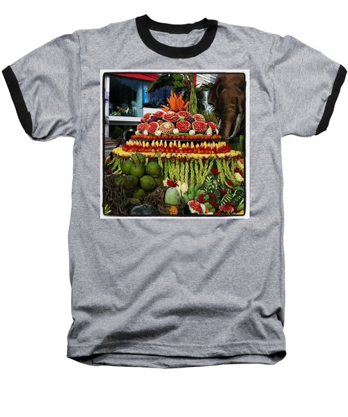 Baseball T-Shirt featuring the photograph Carved Watermelon, Surin Elephant by Mr Photojimsf