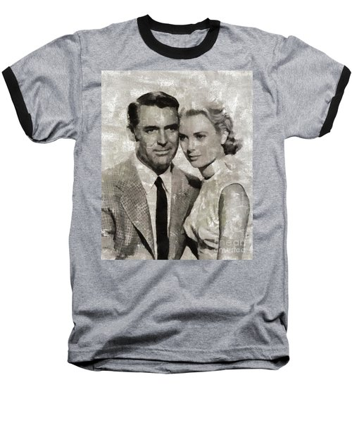 Cary Grant And Grace Kelly, Hollywood Legends Baseball T-Shirt