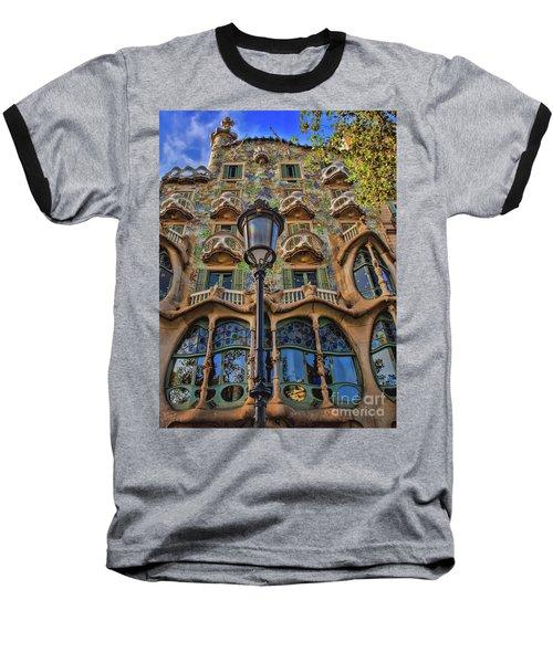 Casa Batllo Gaudi Baseball T-Shirt by Henry Kowalski