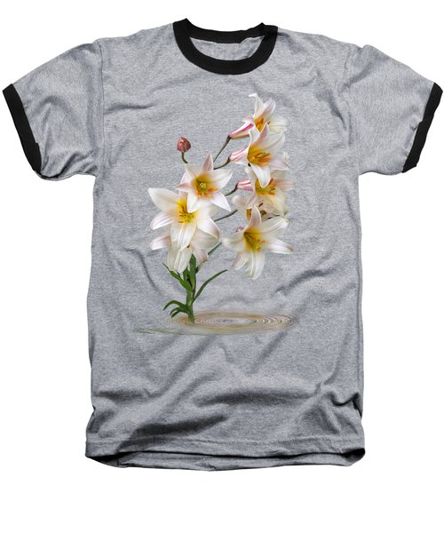 Cascade Of Lilies On Black Baseball T-Shirt