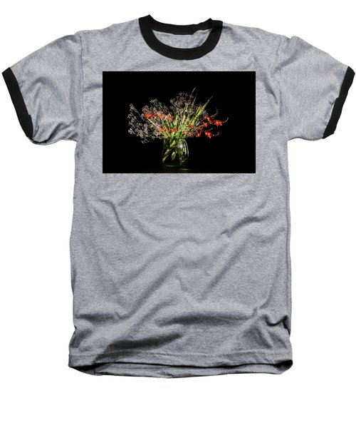 Cascade Of White And Orange. Baseball T-Shirt by Torbjorn Swenelius