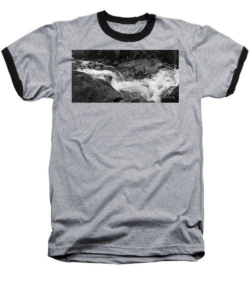 Cascade Stream Gorge, Rangeley, Maine  -70756-70771-pano-bw Baseball T-Shirt by John Bald