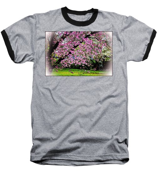 Cascading Dogwood Copyright Mary Lee Parker 17, Baseball T-Shirt by MaryLee Parker