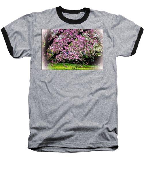 Cascading Dogwood Copyright Mary Lee Parker 17, Baseball T-Shirt