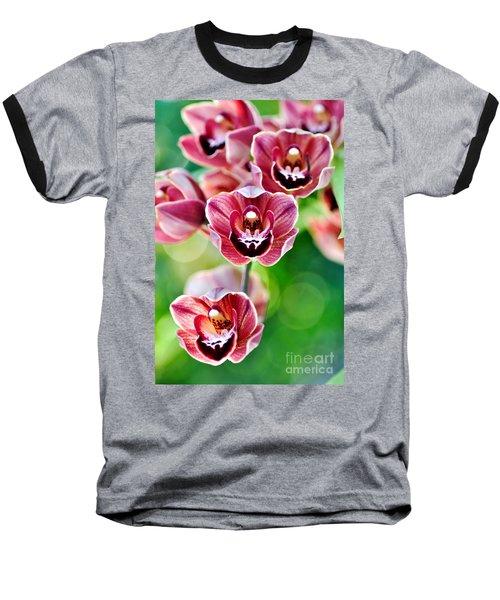 Cascading Miniature Orchids Baseball T-Shirt