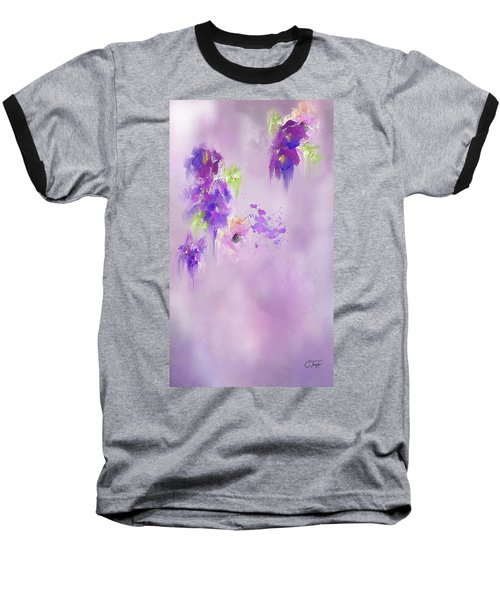 Cascading Orchids Baseball T-Shirt by Colleen Taylor