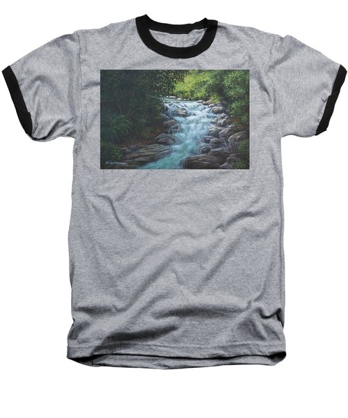 Baseball T-Shirt featuring the painting Cascading Stream by Kim Lockman