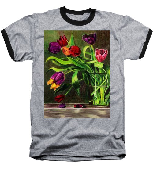 Baseball T-Shirt featuring the painting Cascading Tulips by Patti Ferron