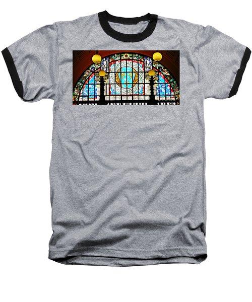 Casino Stained Glass Baseball T-Shirt by Sarah Loft