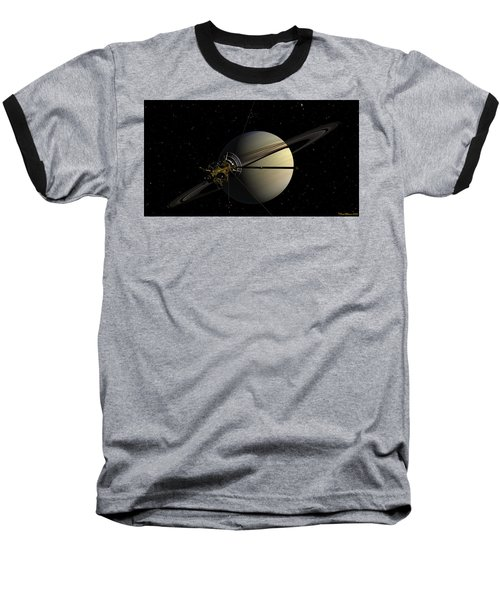 Cassini Orbiting Saturn Baseball T-Shirt