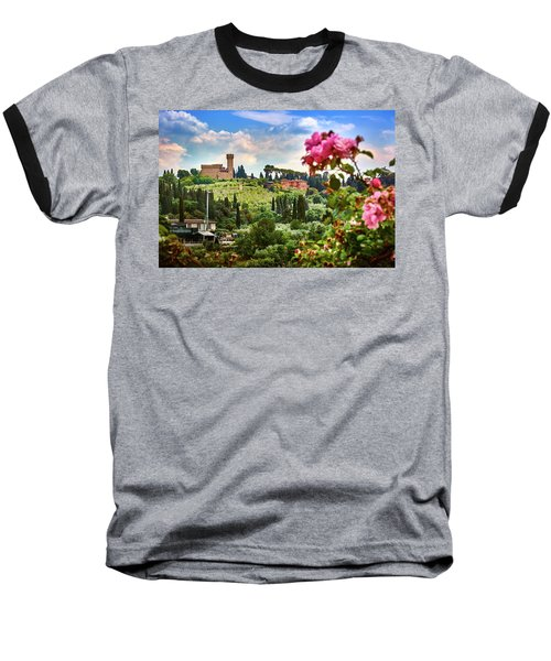 Castle And Roses In Firenze Baseball T-Shirt
