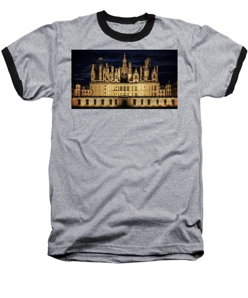 Baseball T-Shirt featuring the photograph Castle Chambord Illuminated by Heiko Koehrer-Wagner