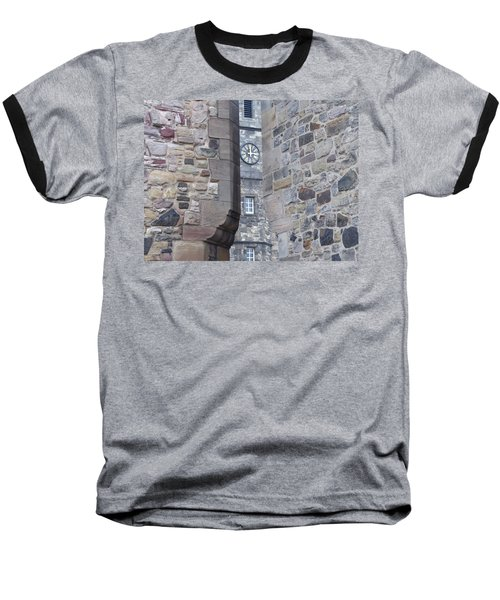 Castle Clock Through Walls Baseball T-Shirt by Margaret Brooks