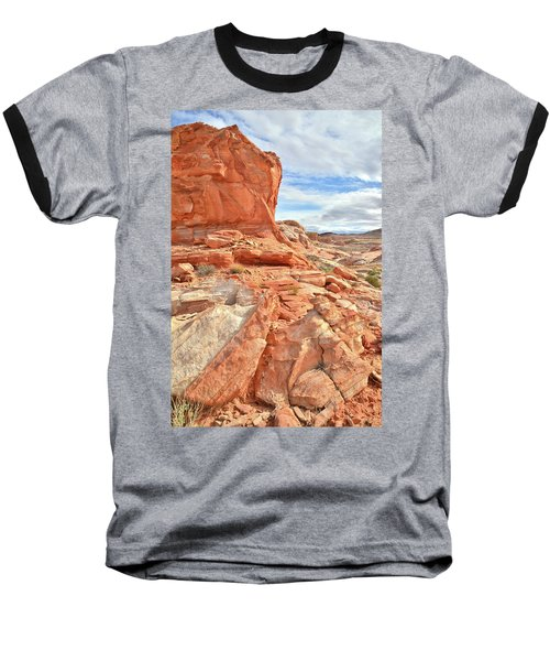 Castle High Above Wash 5 In Valley Of Fire Baseball T-Shirt by Ray Mathis