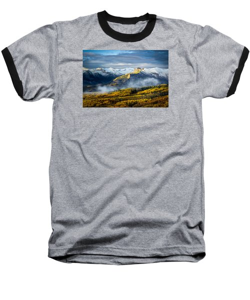 Baseball T-Shirt featuring the photograph Castle In The Clouds by Phyllis Peterson