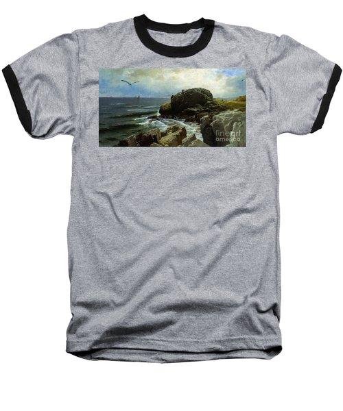 Baseball T-Shirt featuring the digital art Castle Rock - Marblehead by Lianne Schneider