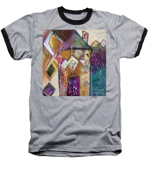 Castle Tower Baseball T-Shirt by Karin Husty