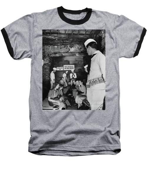 Castle Village Air Raid Shelter Baseball T-Shirt by Cole Thompson