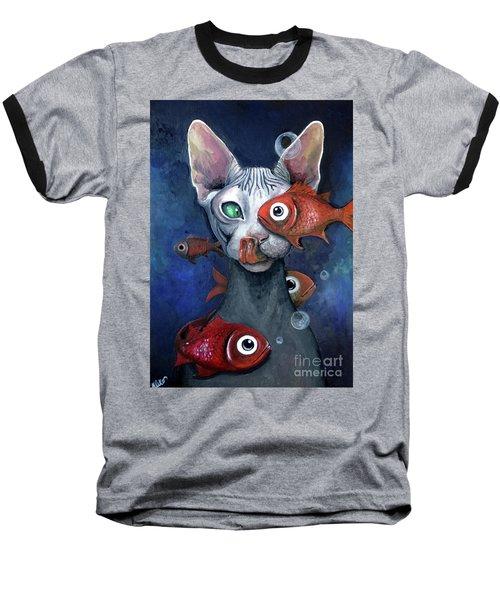 Cat And Fish Baseball T-Shirt