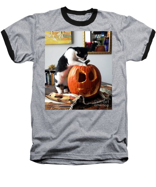 Baseball T-Shirt featuring the photograph Cat And Pumpkin by Vicky Tarcau