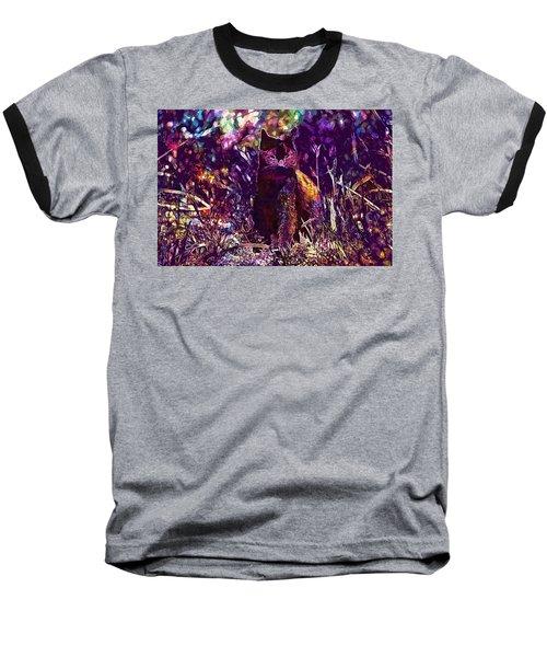Baseball T-Shirt featuring the digital art Cat Black Sun Meadow  by PixBreak Art