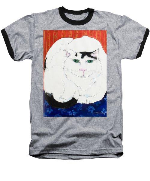 Cat II - Cat Dozing Off Baseball T-Shirt by Leela Payne
