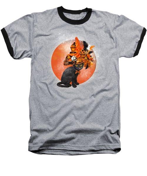 Cat In Halloween Cupcake Hat Baseball T-Shirt by Carol Cavalaris