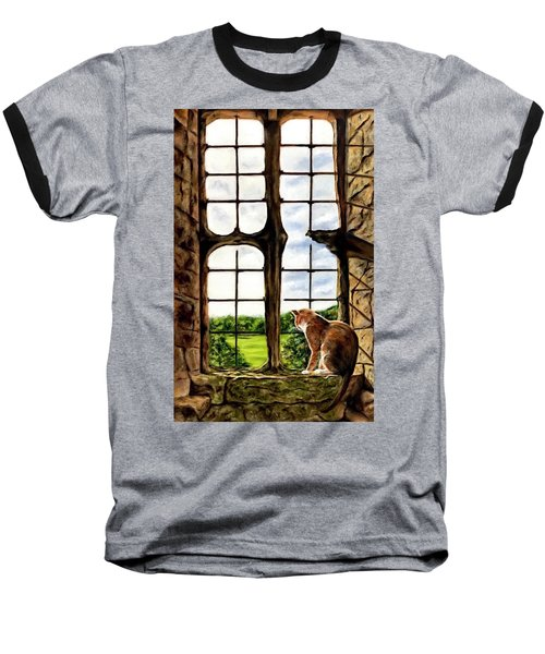 Cat In The Castle Window-close Up Baseball T-Shirt