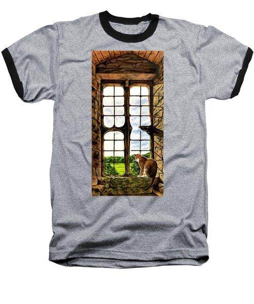 Cat In The Castle Window Baseball T-Shirt