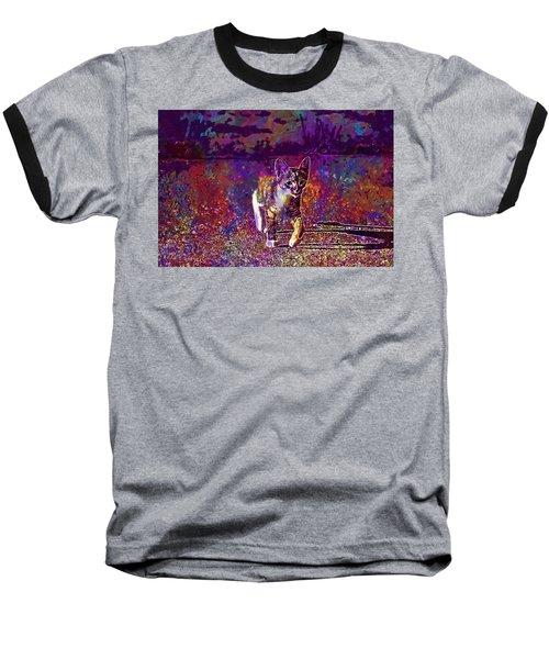 Baseball T-Shirt featuring the digital art Cat Kitten Cat Baby Mackerel  by PixBreak Art