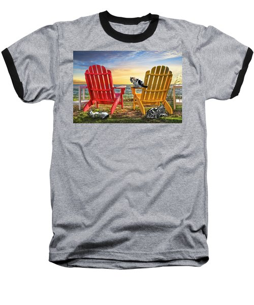 Baseball T-Shirt featuring the photograph Cat Nap At The Beach by Debra and Dave Vanderlaan