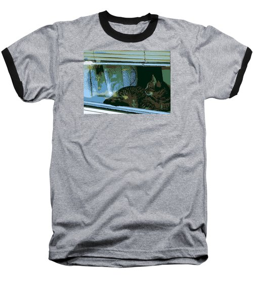 Cat Observing From Window Baseball T-Shirt