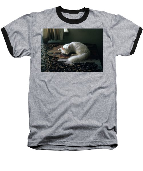 Cat On A Puzzle Baseball T-Shirt