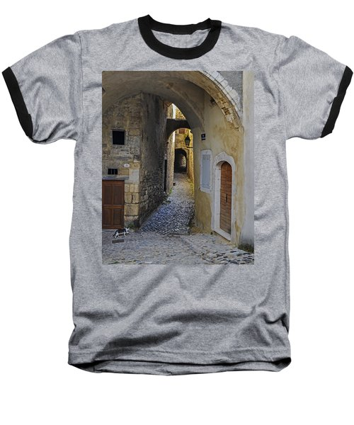 Baseball T-Shirt featuring the photograph Cat On A Quiet Street In Viviers by Allen Sheffield