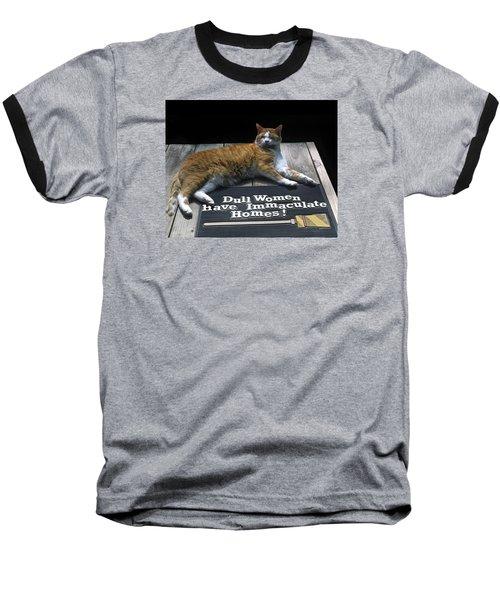 Baseball T-Shirt featuring the photograph Cat On Dull Women Mat by Sally Weigand
