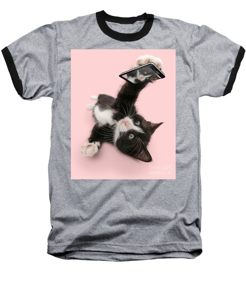 Cat Selfie Baseball T-Shirt