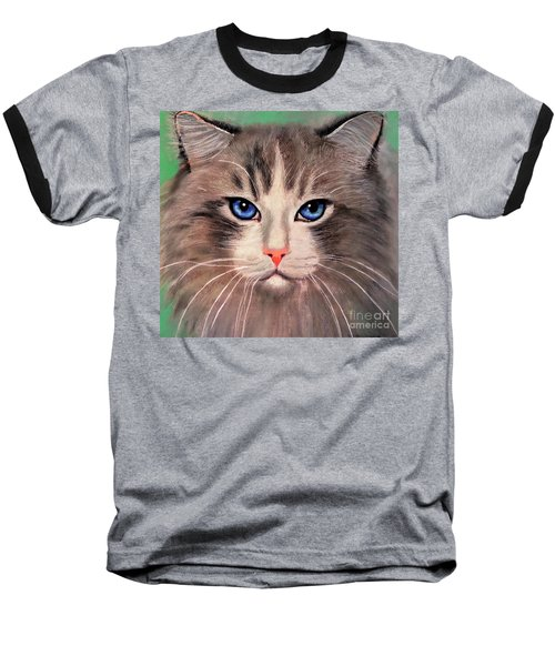Cat With Blue Eyes Baseball T-Shirt