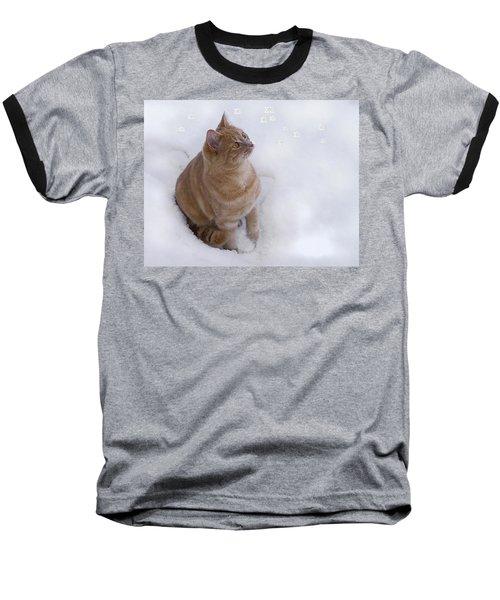 Cat With Snowflakes Baseball T-Shirt