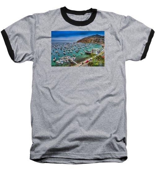 Catalina Island  Avalon Harbor Baseball T-Shirt by David Zanzinger