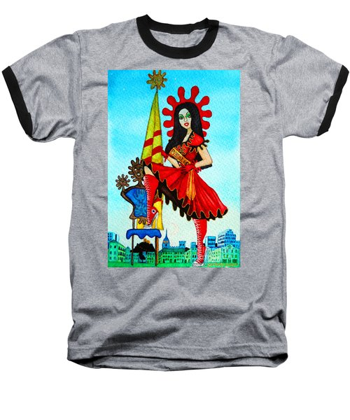 Baseball T-Shirt featuring the painting Catalan Girl In Converse by Don Pedro De Gracia