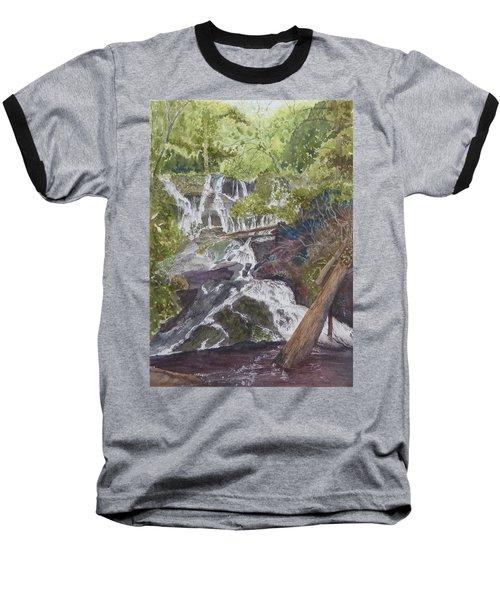 Baseball T-Shirt featuring the painting Catawba Falls - Working Notes by Joel Deutsch