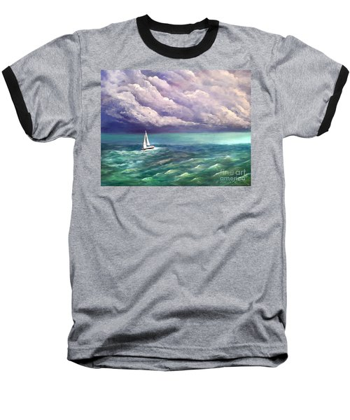 Baseball T-Shirt featuring the painting Tell The Storm by Patricia L Davidson